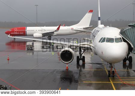 Gothenburg, Sweden - August 28, 2018: Norwegian Air Shuttle Boeing 737 And Finnair Airbus At Gothenb