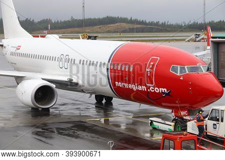 Gothenburg, Sweden - August 28, 2018: Norwegian Air Shuttle Boeing 737 At Gothenburg Landvetter Airp