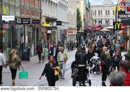 Gothenburg, Sweden - August 27, 2018: People Shop At Kungsgatan Street In Gothenburg, Sweden. Gothen