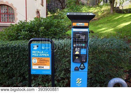 Gothenburg, Sweden - August 26, 2018: Parking Meter Machine In Gothenburg, Sweden. Gothenburg Is The