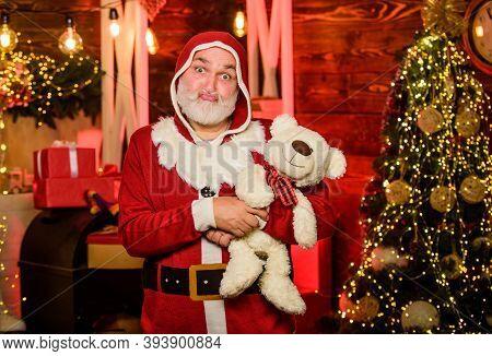 Lovely Hug. Santa Claus. Mature Man With White Beard. Christmas Spirit. Bearded Grandfather Senior M