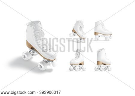 Blank White Roller Skates With Wheels Mockup, Different Views, 3d Rendering. Empty Retro Roller-derb