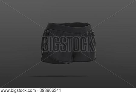 Blank Black Women Sport Shorts Mock Up, Dark Background, 3d Rendering. Empty Mini Jersey Swimwear Mo