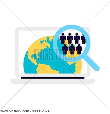 Crowdfunding Composition With Images Of Laptop Computer With World Map App And Hand Lens Vector Illu