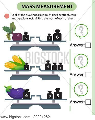Math Game, Education Game For Children. Mass Measurement. Scales. How Much Do Beetroot, Corn And Egg