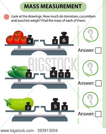 Math Game, Education Game For Children. Mass Measurement. Scales. How Much Do Tomatoes, Cucumbers An