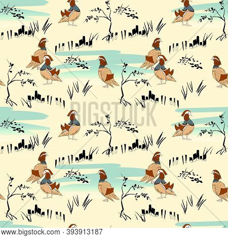 Vector Illustration Seamless Pattern With Plants And Duck In Ukiyo Style, Lake And Mandarin Ducks On