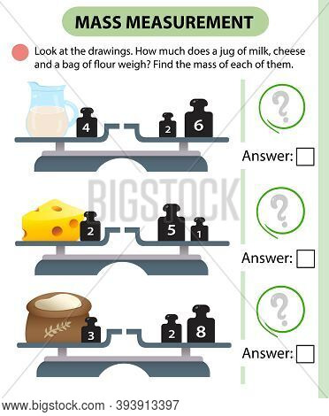 Math Game, Education Game For Children. Mass Measurement. Scales. How Much Does A Jug Of Milk, Chees