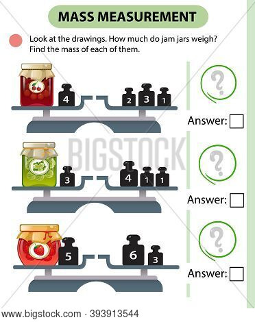 Math Game, Education Game For Children. Mass Measurement. Scales. How Much Do Jam Jars Weight? Logic