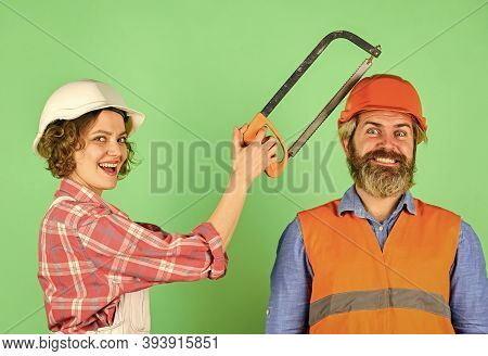 Renovation Is Struggle. Annoying Edits. Couple Renovating Home. Man And Woman Wear Safety Helmet. Ho