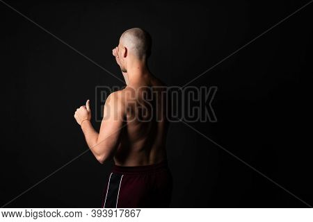 Athletic, Beautiful Strength In Training Pumps Up Muscles. Strong Bodybuilder, Best Abs, Shoulders,