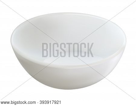 Empty White Realistic Ceramic Dip Bowl For Sauces. Vector Illustration. Blank Round Classic Dishware