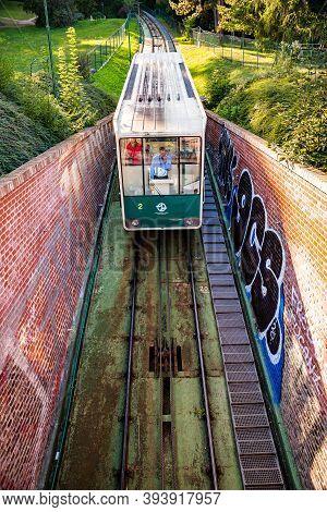Prague, Czech Republic - September 19, 2020. Funicular To The Petrin Hill As A Part Of Public Transp