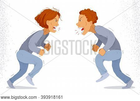Abusive Relations Vector Concept, Man And Woman Is Arguing Aggressively With Hate, Quarrel Between H