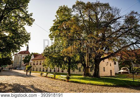Prague, Czech Republic - September 19, 2020. Area Of The Brevnov Monastery Without Tourist During Co