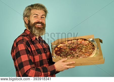 Giving Food Order And Holding Pizza. Hungry Man Eating Pizza. Fast Food Delivery. Eating Delicious C