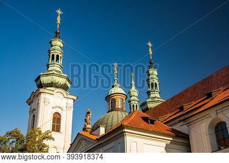 Prague, Czech Republic - September 19, 2020. Towers Of The Brevnov Monastery