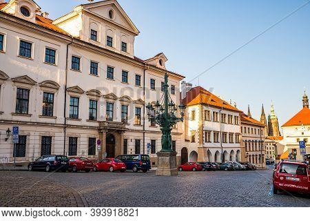 Prague, Czech Republic - September 19, 2020. Loretanska Street Without Tourists During Travel Restri