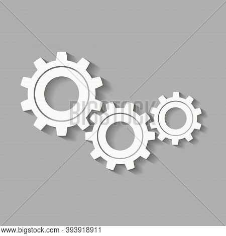 Mechanical Gears With Shadow. Factory Gears Vector Icon. Mechanical Gear. The Image Of The Gear. Mac