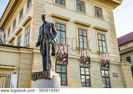 Prague, Czech Republic - September 19, 2020. Statue Of President With His Posters In Background With