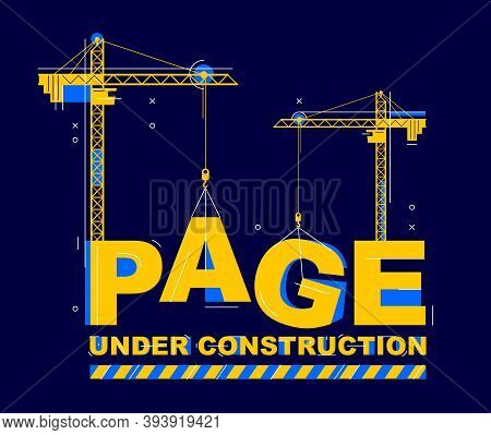 Construction Cranes Builds Page Word Vector Concept Design, Conceptual Illustration With Lettering A