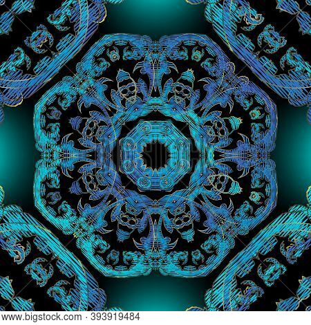 Embroidery Baroque Vector Seamless Pattern. Colorful Floral Glowing Background. Tapestry Wallpaper.