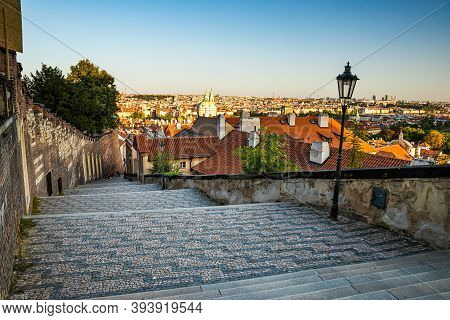 Prague, Czech Republic - September 19, 2020. Empty Stairs Heading To Prague Castle Without Tourists