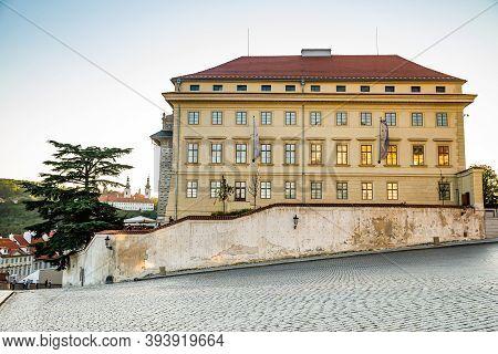 Prague, Czech Republic - September 19, 2020. Hradcanske Namesti Square Without People During Travel
