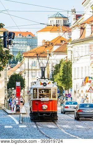 Prague, Czech Republic - September 19, 2020. Historic Red Tramway In Ujezd Street
