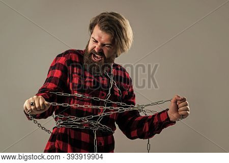 Get Confused In Yourself. Fetter. Brutal Man With Chain. Chained Up In Chain. Bearded Man Has Aggres