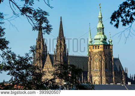 Prague, Czech Republic - September 19, 2020. Detail Of Towers Of St. Vitus Cathedral - Part Of The A