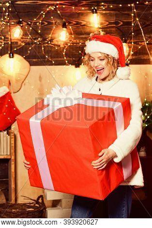 Really Big. Giant Surprise. She Deserves All Best. Girl Santa Hat Hold Enormous Gift Box. If You Hav