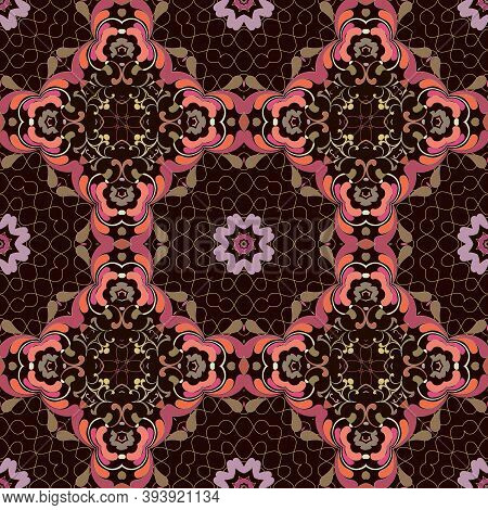 Floral Paisley Seamless Pattern. Lacy Ornamental Colorful Background. Ethnic Folkloric Style Repeat