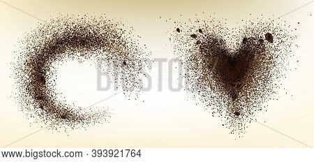 Explosion Of Coffee Bean And Powder In Shape Of Heart And Circle. Vector Realistic Illustration Of S