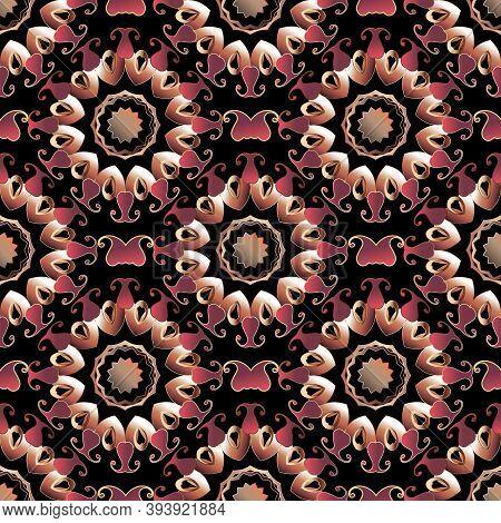Paisley Seamless Pattern. Floral Colorful Ornamental Background. Repeat Decorative Mandalas Backdrop