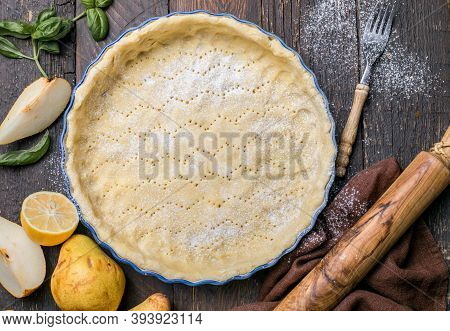 Baking Concept, Ingredients For Cake, Pastry. Frame Of Cooking Kitchen Utensils And Food. La Tarte B