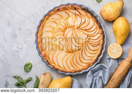 La Tarte Bourdaloue - French Pear Tart Or Pie With Fresh Pear Fruits. Delicious Pear Tart For Thanks
