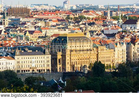 Prague, Czech Republic - September 19, 2020. Panorama Of National Theatre And Surrounding By The Riv