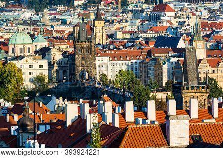 Prague, Czech Republic - September 19, 2020. Panorama Of Charles Bridge And Buildings In Surrounding