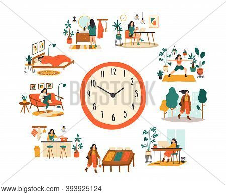 Female Routine. Lifestyle Activities Temporal Distribution, Young Woman Daily Schedule, Life Scenes