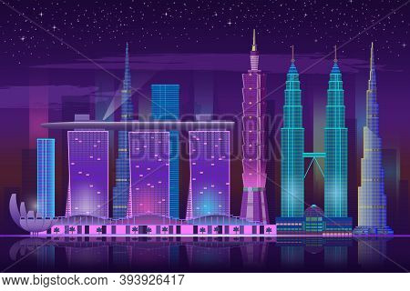 Neon Skyscrapers. Retro 80s Night Cityscape, Bright Lights Buildings Futuristic Background, Water Re