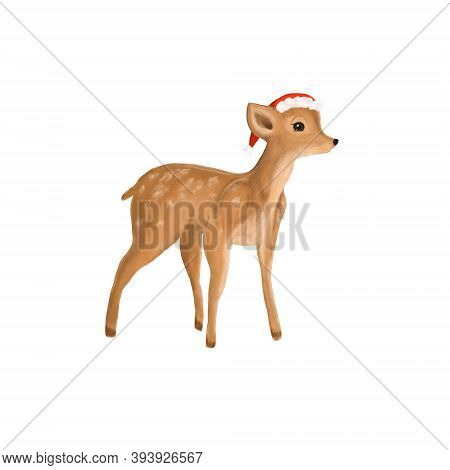 Christmas Little Cute Fawn In A Santa Claus Hat In Photoshop.