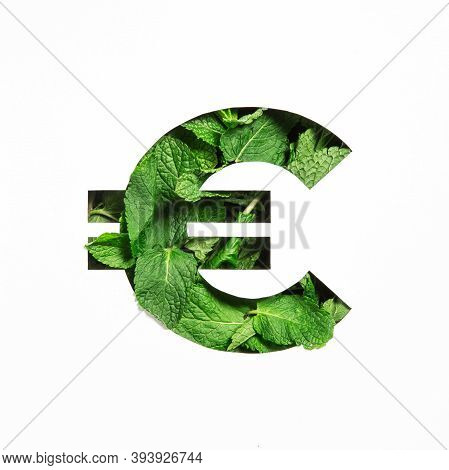 Euros Money Sign Made Of Green Mint Natural Leaf And Cut Paper Isolated On White. Peppermint Leaves