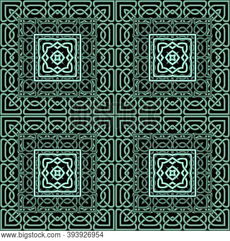 Lines Seamless Pattern. Celtic Ornament. Tartan Background. Repeat Curved Lines Grid Backdrop. Ethni