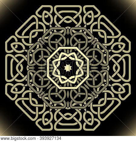 Gold Celtic Mandala Pattern. Vector Lines Background. Repeat Line Art Knotted Arabic Ornamets. Intri