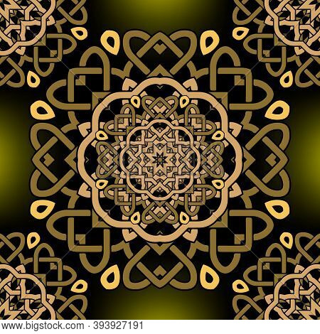 Intricate Celtic Mandalas Seamless Pattern. Vector Lines Background. Repeat Line Art Knotted Ornamet