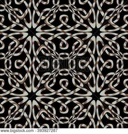 Lines Seamless Pattern. Celtic Ornament. Repeat Curved Lines Lace, Backdrop. Arabesque Style Line Ar