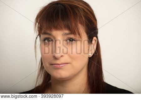 Woman Portrait Close-up Studio White Background Office Worker Thirty Year Old Businesswoman