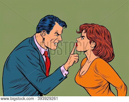 A Man And A Woman Emotionally, Argue, Conflict. Pop Art Retro Illustration Kitsch Vintage 50s 60s St