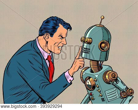 A Man Against A Robot. Rage Aggression Strong Emotions, Hatred. Pop Art Retro Illustration Kitsch Vi